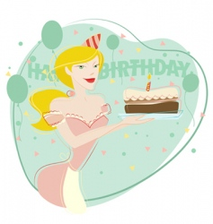 Woman celebrating birthday vector