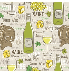Beige seamless patterns with white wine set vector image