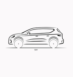 car silhouette side view of suv vector image vector image