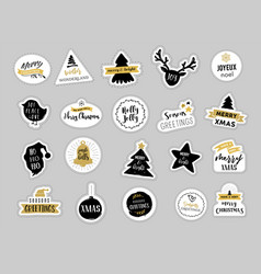 christmas winter stickers set labels and tags vector image