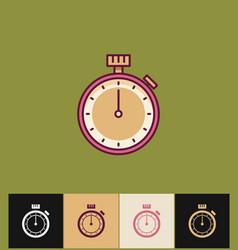 clock icon flat on colored vector image