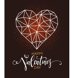 Happy valentines day greeting card with heart vector image
