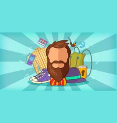 hipster man horizontal banner blue cartoon style vector image vector image