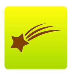 shooting star sign brown icon at green vector image vector image