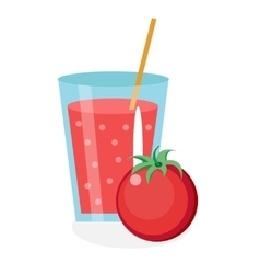Tomato juice in a glass Fresh isolated on white vector image