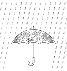 Umbrella and rain coloring vector image