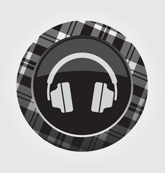 button with white black tartan - headphones icon vector image
