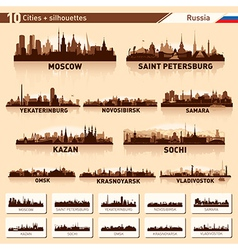 City skyline set Russia silhouette background vector image