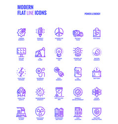 flat line gradient icons design-power and energy vector image vector image