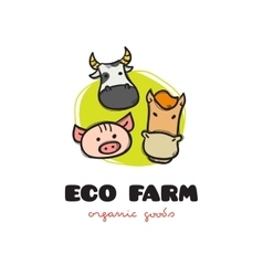 funny cartoon style eco farm logo with pig vector image