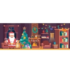 Merry Christmas interior with spruce and Santa vector image