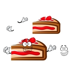 Cartoon berry pie slice with strawberry vector image vector image