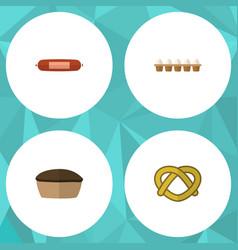 Flat icon eating set of eggshell box tart cookie vector