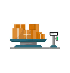 packing boxes on warehouse weigher icon vector image vector image