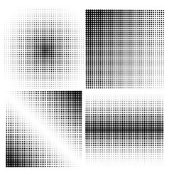 set of halftone backgrounds black color vector image