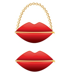 Zipper mouth purse vector image
