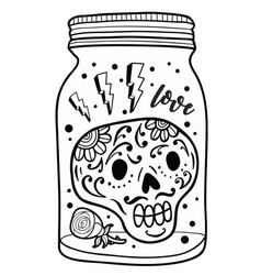 black and white jar with skull inside vector image