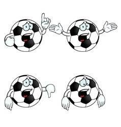 Crying cartoon football set vector image vector image