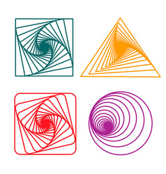 set of spirals a square circle and triangle vector image vector image
