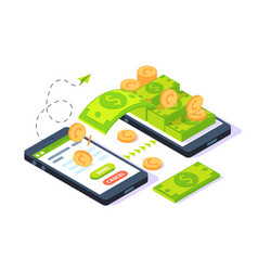 3d isometric mobile sending money with dollars and vector image