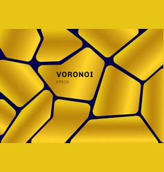 Abstract gold voronoi diagram on dark blue vector