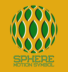 Abstract logo green emblem with moving leaves vector