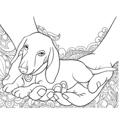 Adult coloring bookpage a cute dog in the two vector