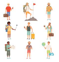 Adventure people outdoor characters backpackers vector