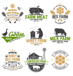 American farm and honey bee farm badge or label vector
