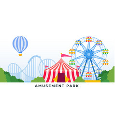 Amusement park with rides and carousels vector
