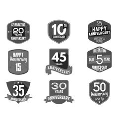 Anniversary badge set of signs vector