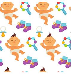 baby newborn kid and pram perambulator seamless vector image