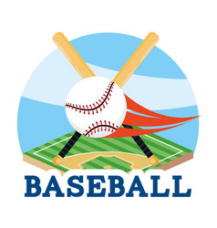baseball bats with ball in the professional field vector image