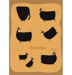 Black cartoon antelopes vector image