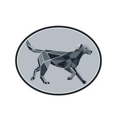 Black labrador standing low polygon oval vector