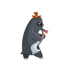 Black mole playing saxophone cute musician vector