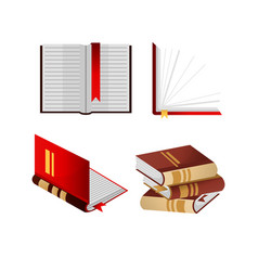 Books with bookmarks isolated and folded in pile vector