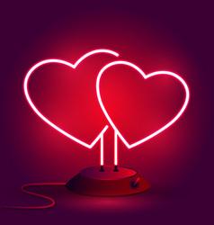 bright hearts neon sign retro neon heart sign on vector image