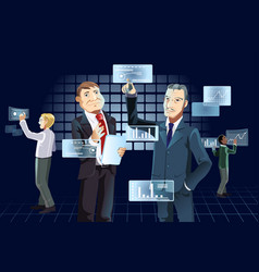 Businessmen and new technology vector