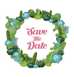 Cactus and succulents wreath vector