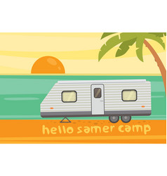 Camping on tropical beach summer travel camper vector