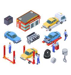 car service isometric people repair cars vector image