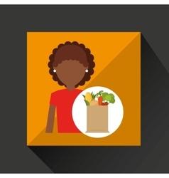 Cartoon girl afroamerican grocery bag vegetables vector