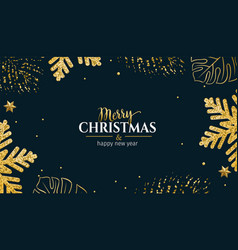 christmas tropical leaves horizontal banner vector image