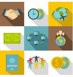 citizenship icons set flat style vector image