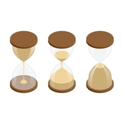 Collection of hourglasses on white background vector image