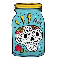 Colorful glass jar with skull inside vector