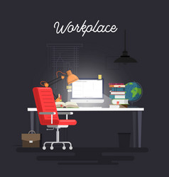 concept of workplace with computer vector image