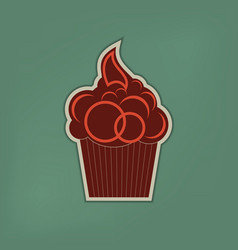 cupcake vintage on a green background vector image