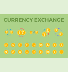 currency exchange icon set vector image
